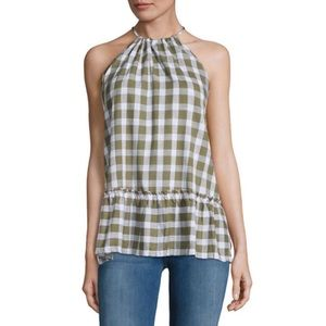For The Republic Checkered Halter in Olive